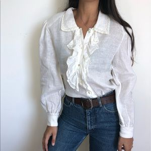 Vintage Cloak of Many Colors white linen blouse